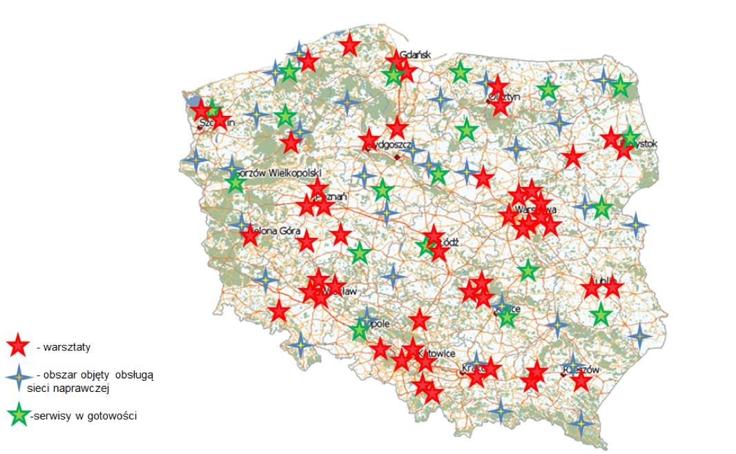 mapa warsztatów samochodowych w polsce